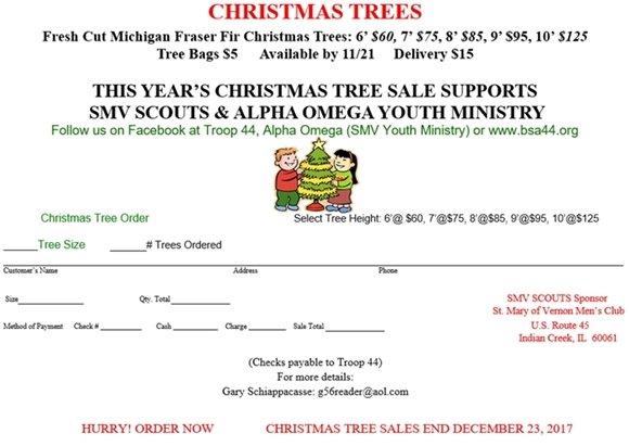 Troop 44 Saint Mary of Vernon's Annual Christmas Tree Sale